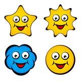 Smiley sorridente della nube del sole della stella del fronte del fumetto Fotografia Stock