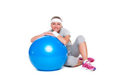 Smiley sportswoman resting Royalty Free Stock Images