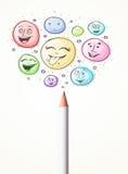 Smiley stawia czoło przybycie z ołówka Obrazy Stock