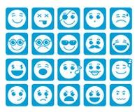 Smiley stellt Vektorikonen in den quadratischen flachen blauen Knöpfen mit Gefühlen gegenüber Lizenzfreies Stockbild