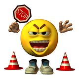 Smiley with stop sign. Hinders the traffic Royalty Free Stock Photo