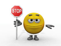 Smiley and stop sign. Smiley  holding a stop sign Royalty Free Stock Image