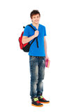 Smiley student holding bag and book Royalty Free Stock Photos