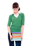 Smiley student holding books. Isolated on white background Stock Photo