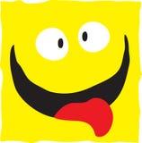 Smiley sulla nota di carta gialla. Fotografie Stock
