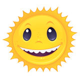 Smiley Sun. Vector cartoon drawing of a happy, smiling sun. Great for spring and summer designs stock illustration