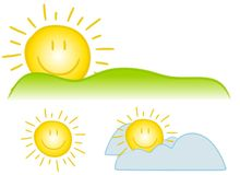 Smiley Sun Clip Art. An illustration featuring an assortment of smiley face sun clip art with simple lines and bright colours