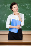 Smiley teacher at the blackboard Stock Photography