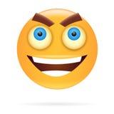 smiley Teckendesign Symbolsstil Ilsken framsidavektorillustr Royaltyfria Bilder