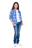 Smiley teenager in checked shirt Stock Photography