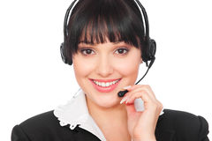 Smiley telephone operator Royalty Free Stock Photo