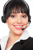 Smiley telephone operator over white Stock Images