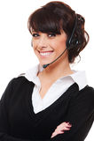 Smiley telephone operator over white background Stock Images