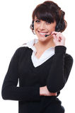 Smiley telephone operator over white background Royalty Free Stock Photos