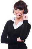 Smiley telephone operator over white background Royalty Free Stock Photos