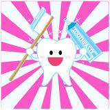 Smiley tooth. Happy smiley tooth on pink Royalty Free Stock Photo