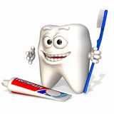 Smiley Tooth - Remember to Brush. A smiley tooth holding a toothbrush with a tube of toothpaste Royalty Free Stock Image