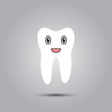 Smiley in tooth. Smiley in the shape of a tooth on a gray background Royalty Free Stock Image