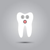 Smiley in tooth. Smiley in the shape of a tooth on a gray background Stock Photo