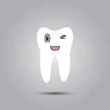 Smiley in tooth. Smiley in the shape of a tooth on a gray background Stock Image