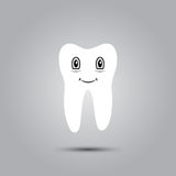 Smiley in tooth. Smiley in the shape of a tooth on a gray background Stock Photos
