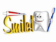 Smiley Tooth - Smile. A smiley tooth holding a toothbrush and the word Smile in 3D Stock Photo