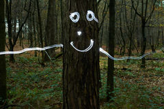 Smiley on tree in forest Stock Images