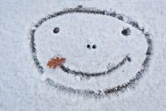 Smiley twarz. Uśmiechnięty bałwan. Zima. Obrazy Royalty Free