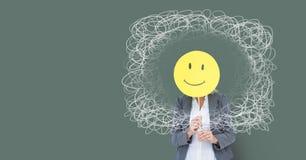 Smiley twarzy biznesowa osoba z doodle squiggles okrąża tło i zielenieje Zdjęcie Stock