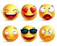 Smiley twarzy ikony lub żółci emoticons z emocjonalnymi śmiesznymi twarzami