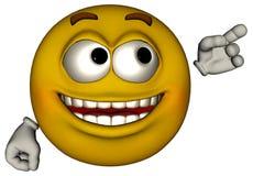 Smiley twarzy produkt Tutaj Odizolowywający Zdjęcia Stock
