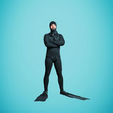 Smiley underwater diver in equipment Royalty Free Stock Photos