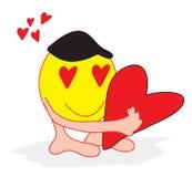 Smiley Valentine. Clip Art illustration of a smiley face character hugging a valentine heart vector illustration