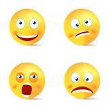 Smiley vector set happy crazy yawn face stock illustration