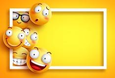 Smiley vectormalplaatje als achtergrond met gele grappige smileys of emoticons royalty-vrije illustratie