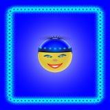 Smiley w błękitnej nakrętce z błękitnym kwiatem Ilustracja Wektor