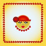 Smiley w czerwonej nakrętce z czerwonym kwiatem Zdjęcia Royalty Free
