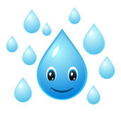 Smiley water drop. Vector icon stock illustration