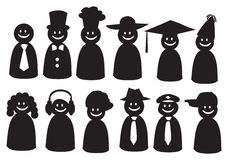 Smiley Wektorowe ikony w Różnym Headwear Zdjęcie Royalty Free