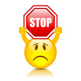 Smiley With Stop Sign Stock Image