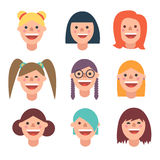 Smiley woman avatar icon in flat style Stock Photo