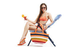Smiley woman in bikini Royalty Free Stock Images