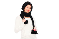 Smiley woman in black hat and scarf Stock Photo