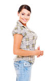 Smiley woman in checked blouse Stock Photos