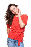 Smiley woman with curly hair Stock Photography