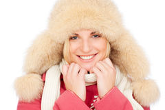 Smiley woman in fur hat Stock Photo