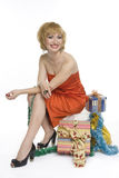Smiley woman with gifts royalty free stock photography