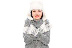 Smiley woman in hat and mitten Royalty Free Stock Image