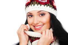 Smiley woman in hat and scarf Stock Image