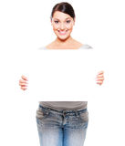 Smiley woman holding empty blank Stock Photography